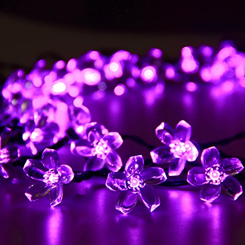 Solar Outdoor String Lights 50 Led Purple Blossom Christmas Lights For Bedroom Garden Walkway