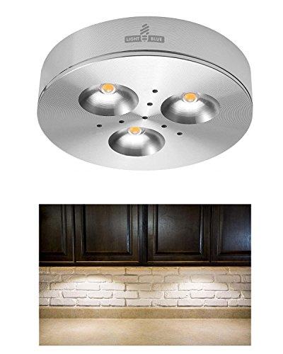 light blue led under cabinet lighting puck lights 12vdc 3 watt halogen replacement 240lm. Black Bedroom Furniture Sets. Home Design Ideas