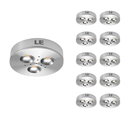 LE 10 Pack LED Under Cabinet Lighting, Puck Lights, 12V DC Under Counter  Lighting, 25W Halogen Replacement, 240lm, Warm White,