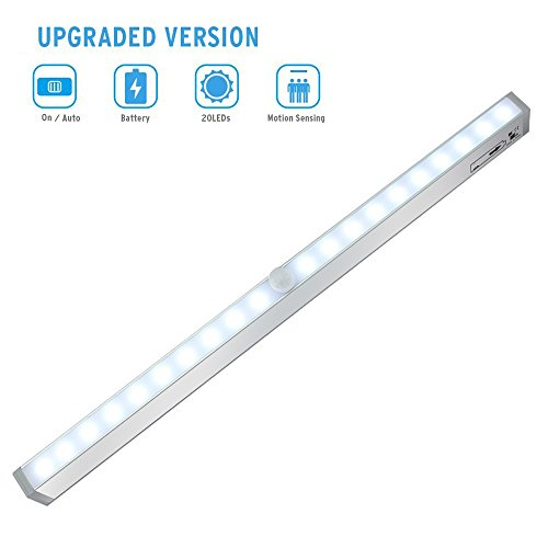 Cabinet Light, Motion Sensing Closet Under Cabinet LED Night Light, Battery  Operated Stick On Anywhere Portable 20 LED With 3M Magnetic Strip For ...