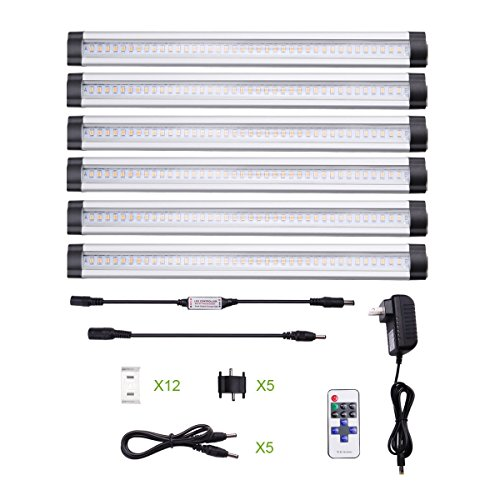 le dimmable led under cabinet lighting 6 panel kit 24w total 12 v dc 1800lm 3000k warm white 48w fluorescent tube equivalent all accessories cabinet lighting 6